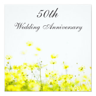Elegant Yellow Wildflowers Wedding Anniversary Announcements