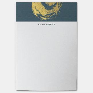 Elegant YOGA Blue & Gold ZEN Symbol Brushstrokes Post-it Notes