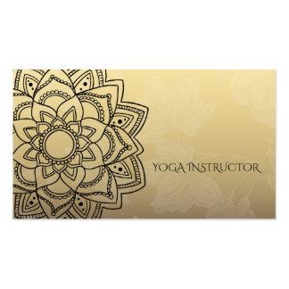 Elegant YOGA Instructor Black Gold Floral Mandala Pack Of Standard Business Cards
