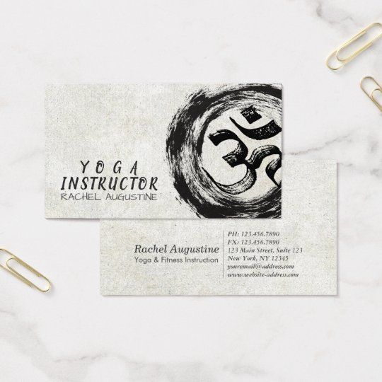 Elegant YOGA Instructor Calligraphy ZEN OM Symbol Business Card
