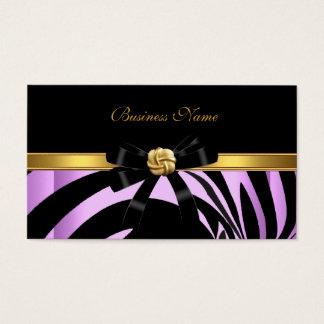 Elegant Zebra Black Lilac Gold Jewel Bow Business Card