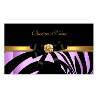 Elegant Zebra Black Lilac Gold Jewel Bow Pack Of Standard Business Cards