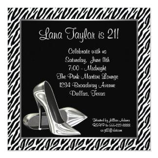 Elegant Zebra High Heel Birthday Party Card
