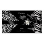 Elegant Zebra Leopard Black Diamond look Pack Of Standard Business Cards
