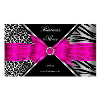 Elegant Zebra Leopard Black Hot pink 2 Pack Of Standard Business Cards