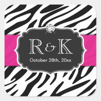 Elegant Zebra Print Hot Pink Wedding Initials Date Square Sticker