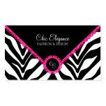 Elegant Zebra Print & Pink Lace Business Cards