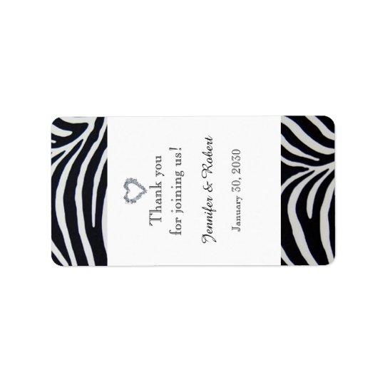 Elegant Zebra Stripe Wedding Lip Balm Label