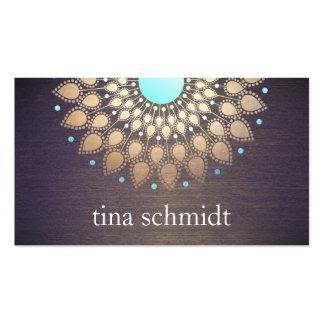 Elegante Goldfolie Verziert Blatt Mandala Holz Pack Of Standard Business Cards