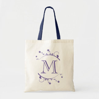 Elegante monograma púrpura y flores de primavera bolsas lienzo
