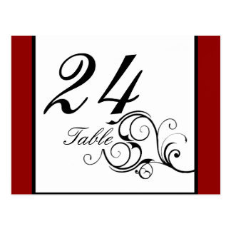 Elegante Swirl in Rich Red Table number Postcard
