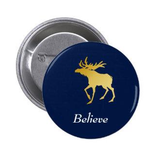 Elegantly Luxurious Gold Antler Deer 6 Cm Round Badge