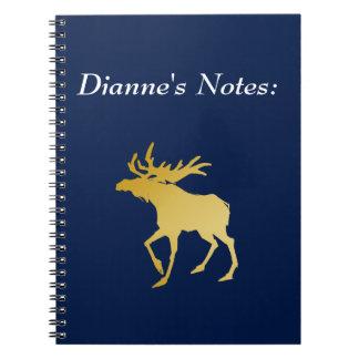 Elegantly Luxurious Gold Antler Deer Notebook