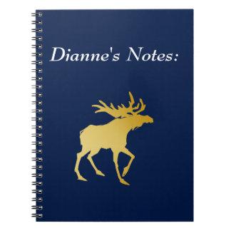 Elegantly Luxurious Gold Antler Deer Spiral Notebook