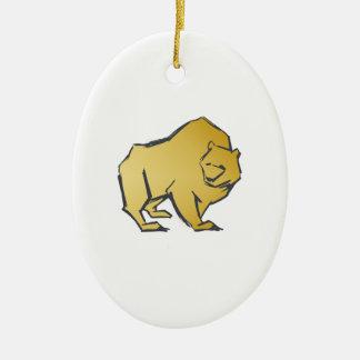 Elegantly Luxurious Gold Bear Ceramic Oval Decoration