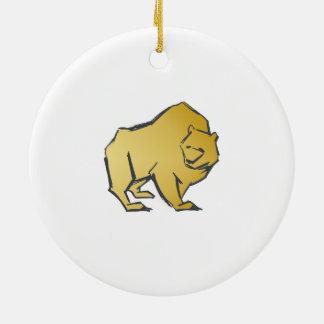 Elegantly Luxurious Gold Bear Round Ceramic Decoration