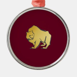 Elegantly Luxurious Gold Bear Silver-Colored Round Decoration