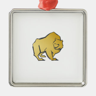Elegantly Luxurious Gold Bear Silver-Colored Square Decoration