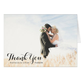 Elegantly Scripted Photo Wedding Thank You | Black Card