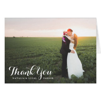 Elegantly Scripted Photo Wedding Thank You | White Card