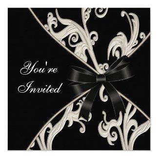 Elegatn Black White Cream Swirl Party 13 Cm X 13 Cm Square Invitation Card