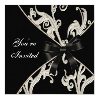 Elegatn Black White Cream Swirl Party Card