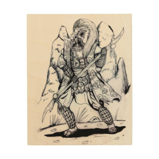 Elemental Air Samurai Wood Wall Art