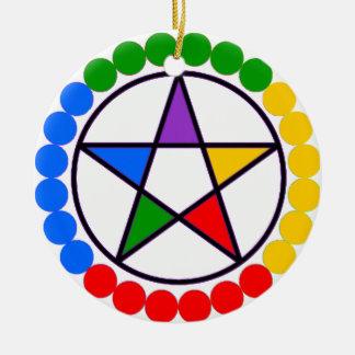 Elemental Pentacle Yule Tree ornament