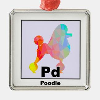Elemental Poodle Silver-Colored Square Decoration
