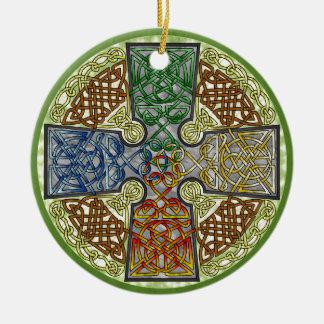 Elemental-Textured Celtic Cross Medallion Round Ceramic Decoration