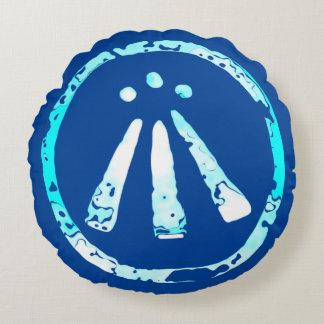Elemental Water Spirit Awen Symbol Round Pillow