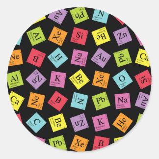 Elementary Periodic (Dark) Classic Round Sticker