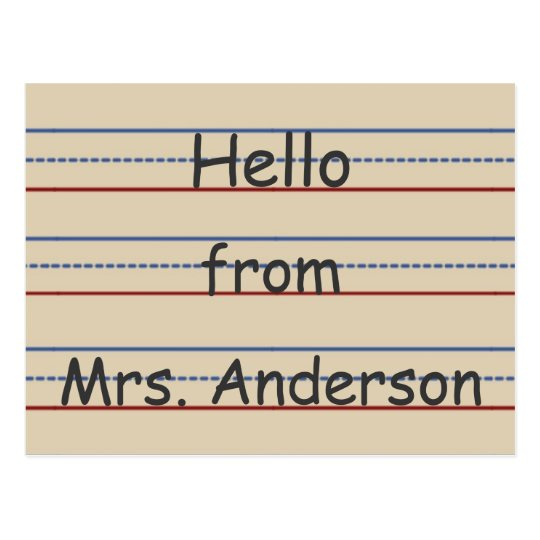 Elementary School Paper Personalised Postcard