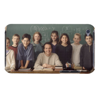 Elementary school students standing behind iPod touch covers