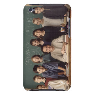 Elementary school students standing behind iPod Case-Mate case