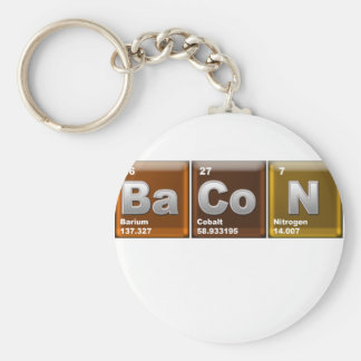 "Elements spelling ""BACON"" Basic Round Button Key Ring"