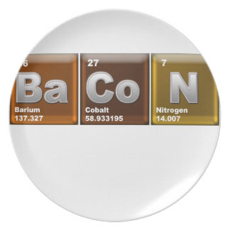 "Elements spelling ""BACON"" Plates"