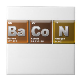 "Elements spelling ""BACON"" Small Square Tile"