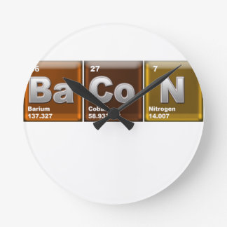 "Elements spelling ""BACON"" Wall Clocks"