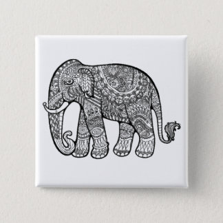 Elephant 15 Cm Square Badge