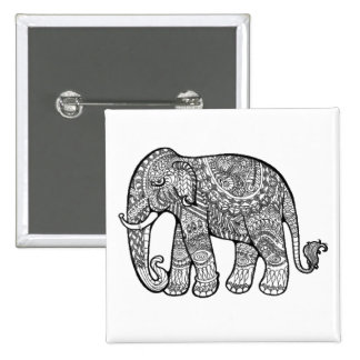 Elephant 15 Cm Square Badge