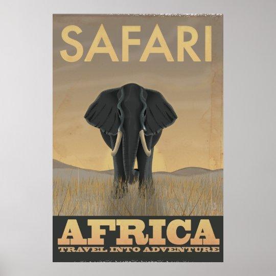 Elephant Africa Safari Vintage Travel Poster Zazzle Com Au