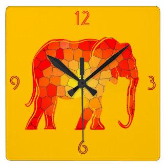 Elephant African Silhouette Mosaic Artistic Orange Square Wall Clock
