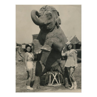 elephant and 2 girls circus poster