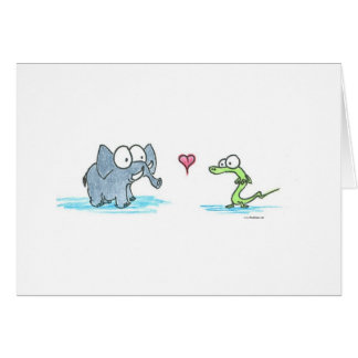 Elephant and Alligator Greeting Card