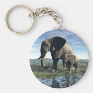 Elephant and Baby Basic Round Button Key Ring