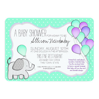 Elephant and Balloons Baby Shower 13 Cm X 18 Cm Invitation Card