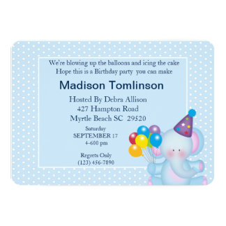 Elephant and Balloons Birthday  Invitation