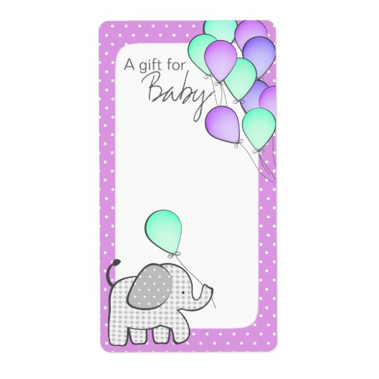 Elephant and Balloons Magenta Polka Dot Book Tags Shipping Label