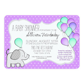 Elephant and Balloons Purple Baby Shower 13 Cm X 18 Cm Invitation Card